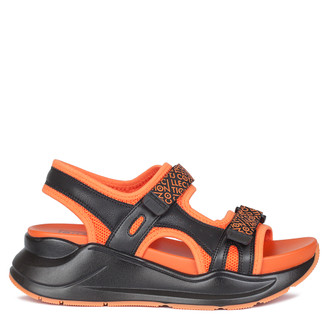 Women's Orange and Black Velcro Strap Sandals GF 5120220 BLO