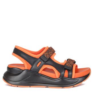 Women's Orange and Black Velcro Strap Sandals GF 5120220 BLO
