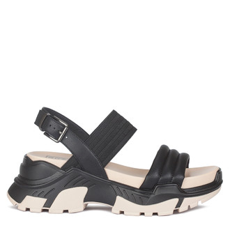 Women's Black & White Directional Leather Sandals GF 5129220 BLK