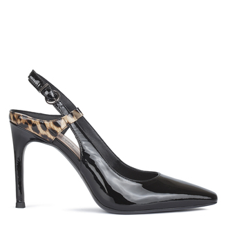 Women's Black Stiletto Slingbacks with Leopard Print GF 5188710 BLP