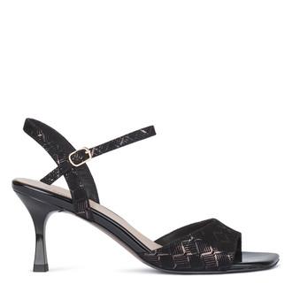 Women's Black Kitten Heel Sandals GJ 5169610 BLZ