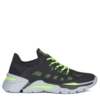 Men's Black and Neon Green Lightweight Sneakers GK 7205020 BLY