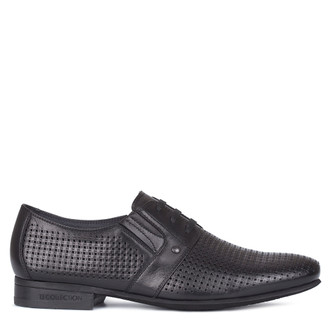 Men's Perforated Black Leather  Derbies GL 7119710 BLK