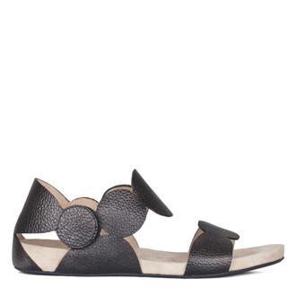Women's Black Leather Velcro Strap Sandals GP 5124410 BLI