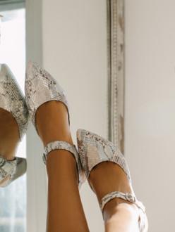 Women's Rich Leather Python Print Shoes GP 5151310 GRZ