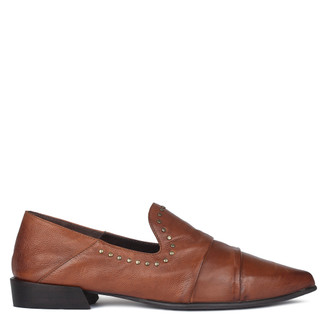 Women's Terracotta Brown Leather Slip-Ons GP 5221810 CGA