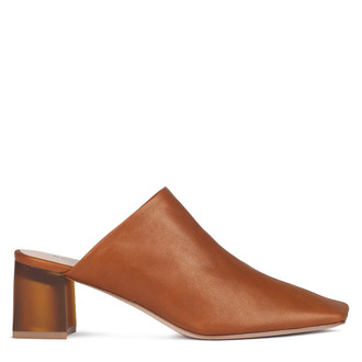 Women's Cognac-Brown Leather Mules GR 5155010 CGZ