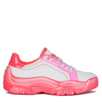 Women's White and Neon Fuchsia Chunky Sole Sneakers GS 5214020 WHX