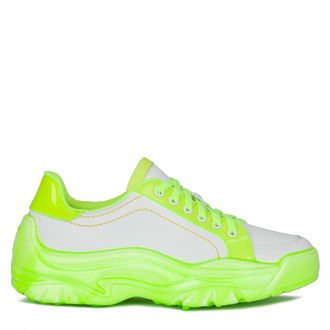 Women's White and Neon Chunky Sole Sneakers GS 5214020 WHY