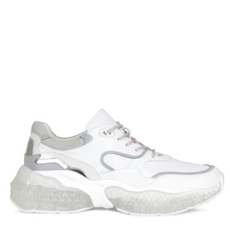 Women's Trend-Driven White Leather Aurora Sneakers GS 5225810 WHZ