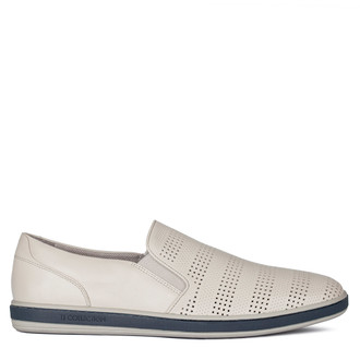 Men's Perforated Leather Slip-On Sneakers TK 7103010 LGR