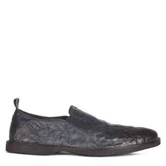 Men's Dark Blue Washed Leather Slip-Ons TN 7201210 NVA
