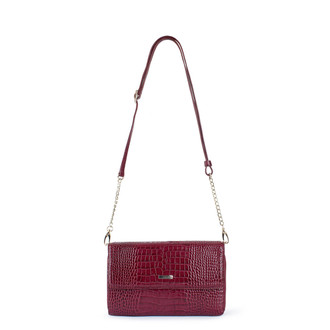 Burgundy Embossed Leather Mini Bag Vienna YA 5120910 BDC