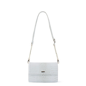 Ivory White Embossed Leather Mini Bag Vienna YA 5120910 WHC