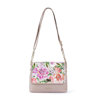Beige Floral Print Leather Cross-Body Bag Parma YM 5220810 PNZ