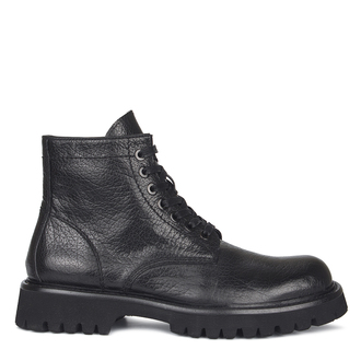 Men's Dense Black Washed Leather Boots GB 7316810 BLA