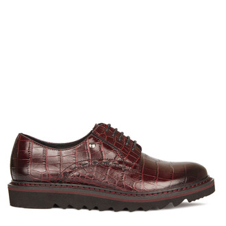 Women's Burgundy Embossed Derbies GD 5200010 BDC