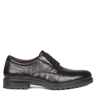 Men's Classic Black Leather Derbies GL 7715818 BLA
