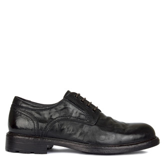 Men's Black Washed Leather Winter Derbies GN 7728619 BLB
