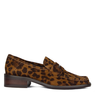 Women's Striking Leopard Print Suede Loafers GR 5232010 LEO