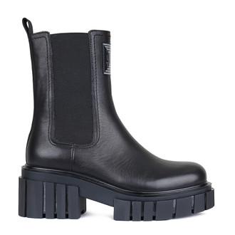 Women's High-Top Black Leather Chelsea Boots GS 5330210 BLK