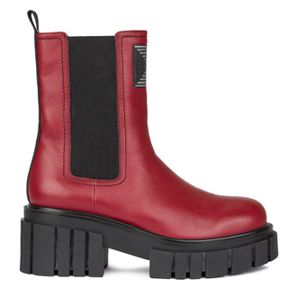 Women's High-Top Red Leather Chelsea Boots GS 5330210 RED