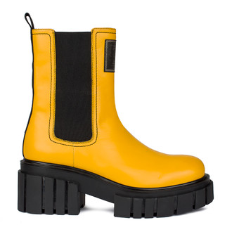 Women's High-Top Yellow Leather Chelsea Boots GS 5330210 YLB