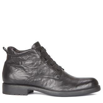 Men's Sharp Black Leather Winter Boots MP 7518819 BLA
