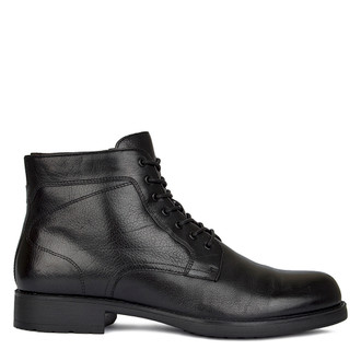 Men's Polished Black Leather Winter Boots MP 7521018 BLK
