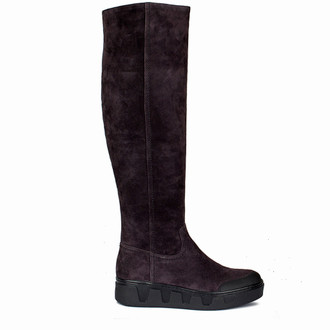 Women's Brown Textured Suede Long Boots TF 5615510 DBS