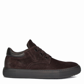Men's Contemporary Brown Suede Sneakers TL 7325810 BRV