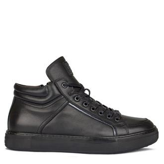 Men's Tall Black Leather Winter Sneakers TL 7525910 BLI