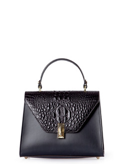 Smooth Black Leather Pisa Satchel Bag YG 5227910 BLZ