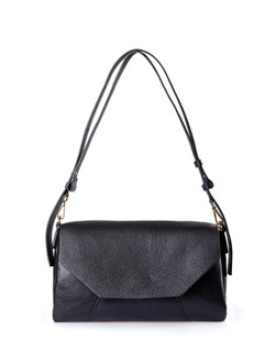 Grained Black Leather Prague Bag YG 5325810 BLK