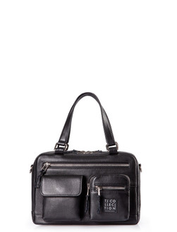 Black Leather Organizer Bag Geneva YH 5220810 BLK