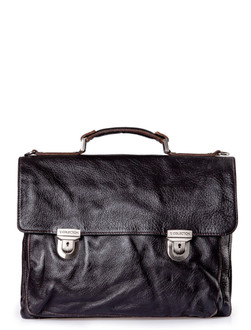 Distressed Leather Briefcase YH 7470910 BLA