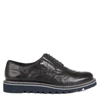 Women's Black Textured Leather Derbies GD 5200015 BLA