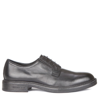 Men's Classy Black Leather Derbies GN 7223019 BLK