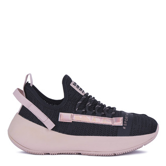 Women's Black & Pink Textile Sneakers GO 5118021 BLT