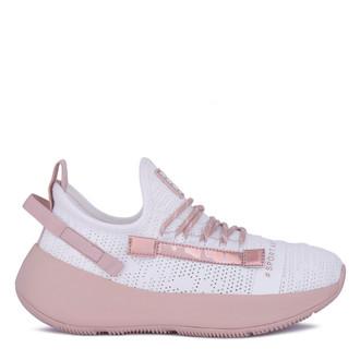 Women's White & Pink Textile Sneakers GO 5118021 WHT