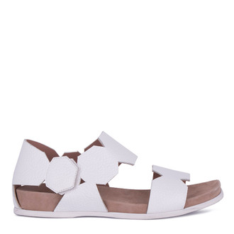 Women's White Footbed Deerskin Sandals GP 5127811 WHA