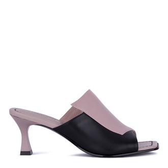 Women's Black & Beige Leather Mules GR 5162711 TPB