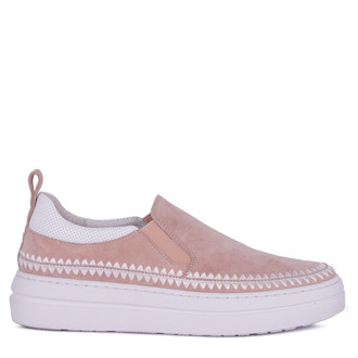 Women's Powder Pink Suede Slip-On Shoes TB 5218011 TPS