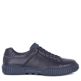 Men's Dynamic Black Leather Summer Sneakers TL 7224211 BLU