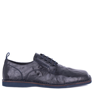Men's Navy Blue Washed Leather Derbies TN 7202811 BLU