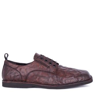 Men's Cognac Brown Washed Leather Derbies TN 7202811 CGA