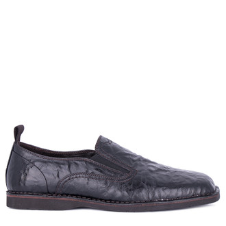 Men's Black Washed Leather Slip-On Shoes TN 7202911 BLB