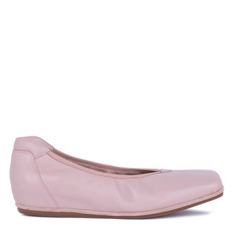 Women's Powder Pink Leather Ballet Shoes VR 5218811 PNI