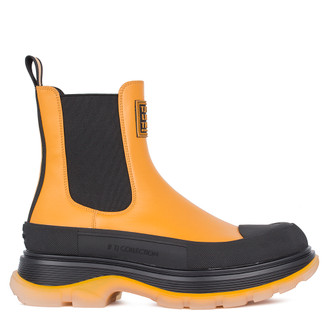 Women's Yellow Leather Chelsea Boots GD 5319011 YLB