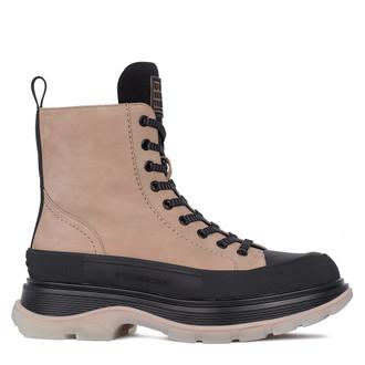 Women's Black & Beige Trekking-Style Leather Boots GD 5319811 TPB